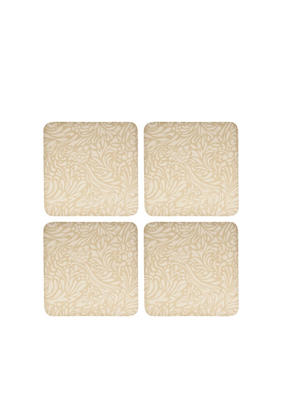 Denby Monsoon Home Set of Four Coasters, Lucille Gold & Cream