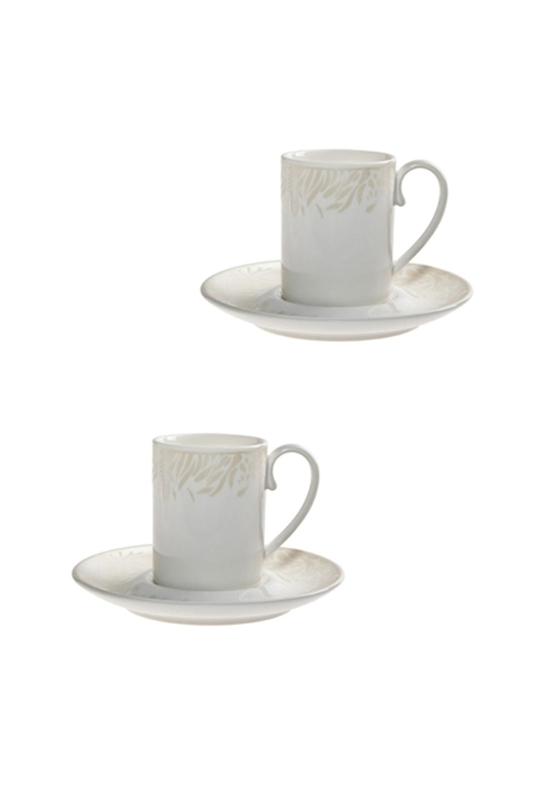 Denby Monsoon Lucille Gold Espresso Cup and Saucer, Set of Two