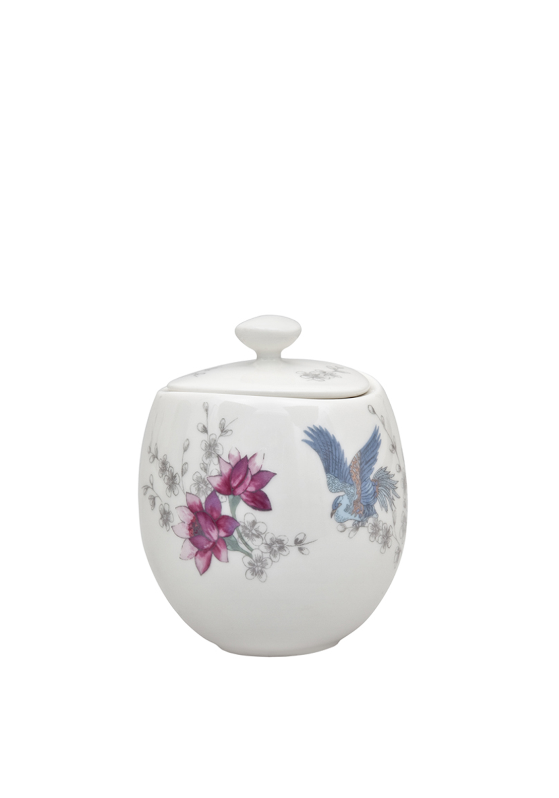Denby Monsoon Home Kyoto Covered Sugar Pot with Lid, Cream