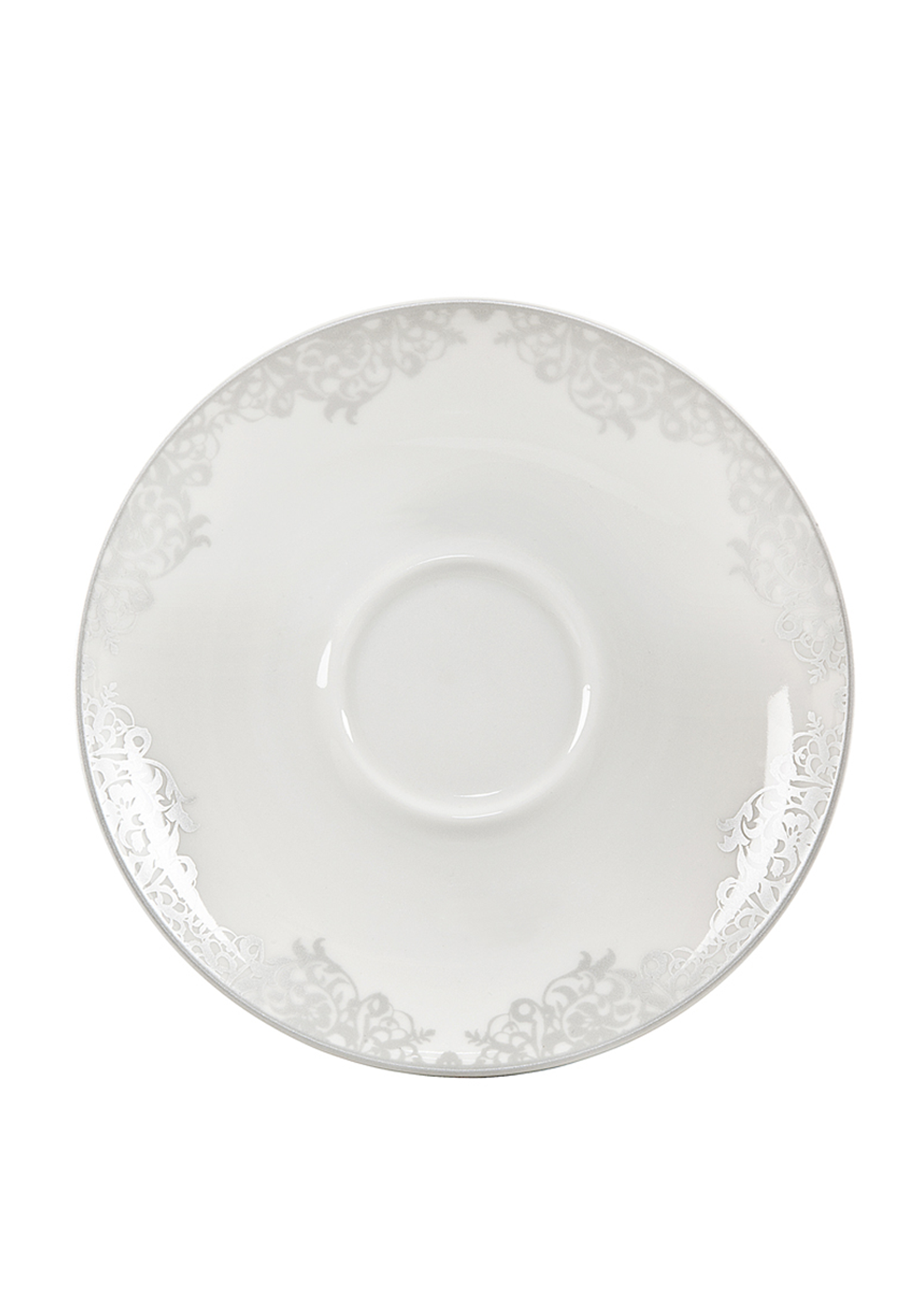 Denby Monsoon Filigree Tea Saucer, Silver