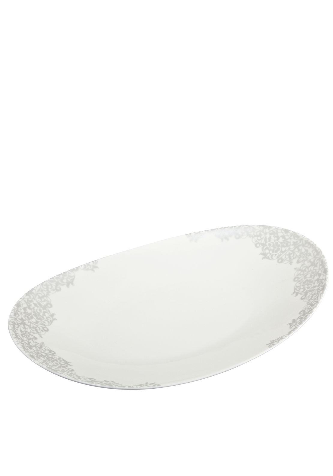 Denby Monsoon Filigree Large Oval Platter, Silver