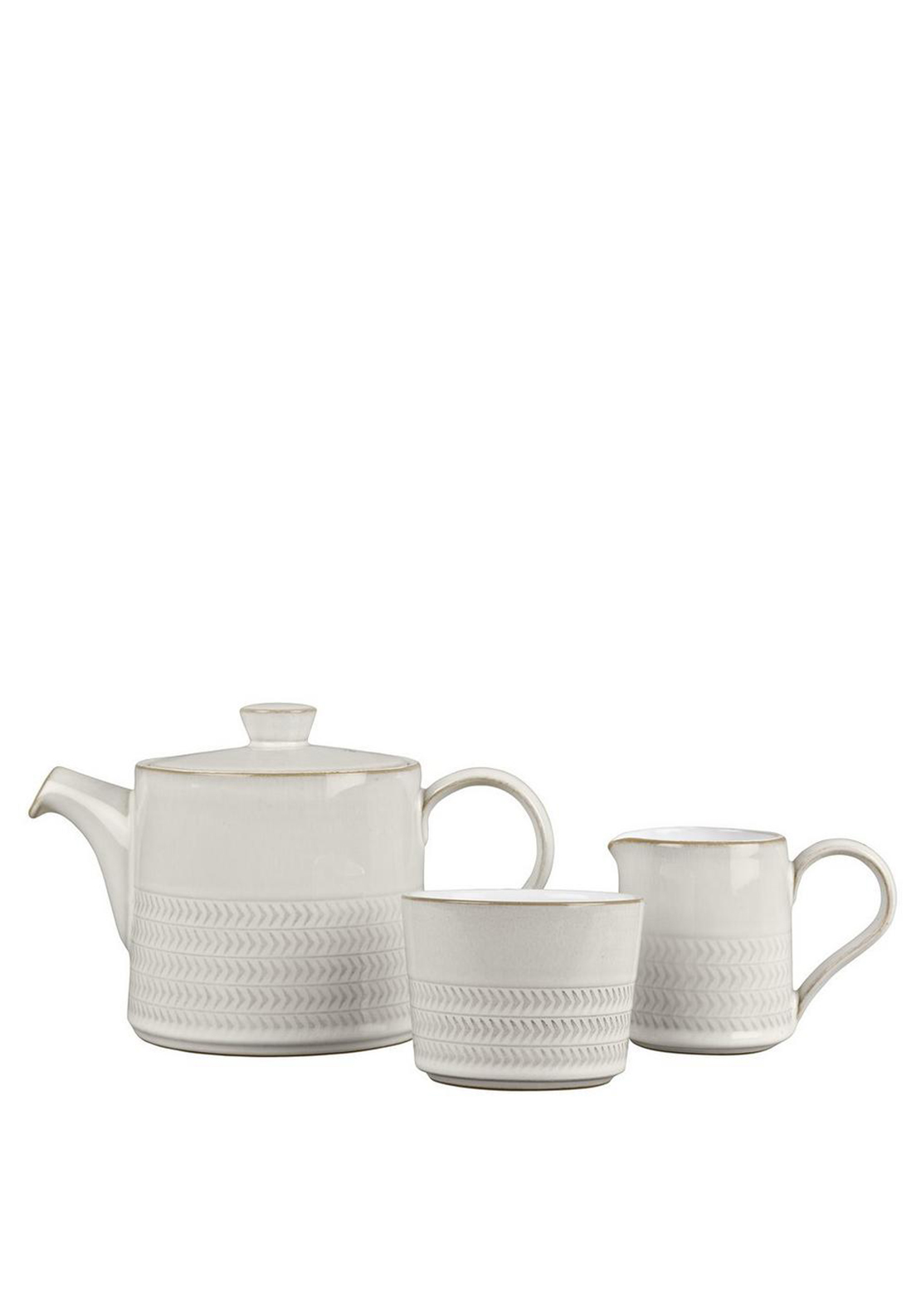 Denby Natural Canvas Teapot Sugar Bowl & Small Jug