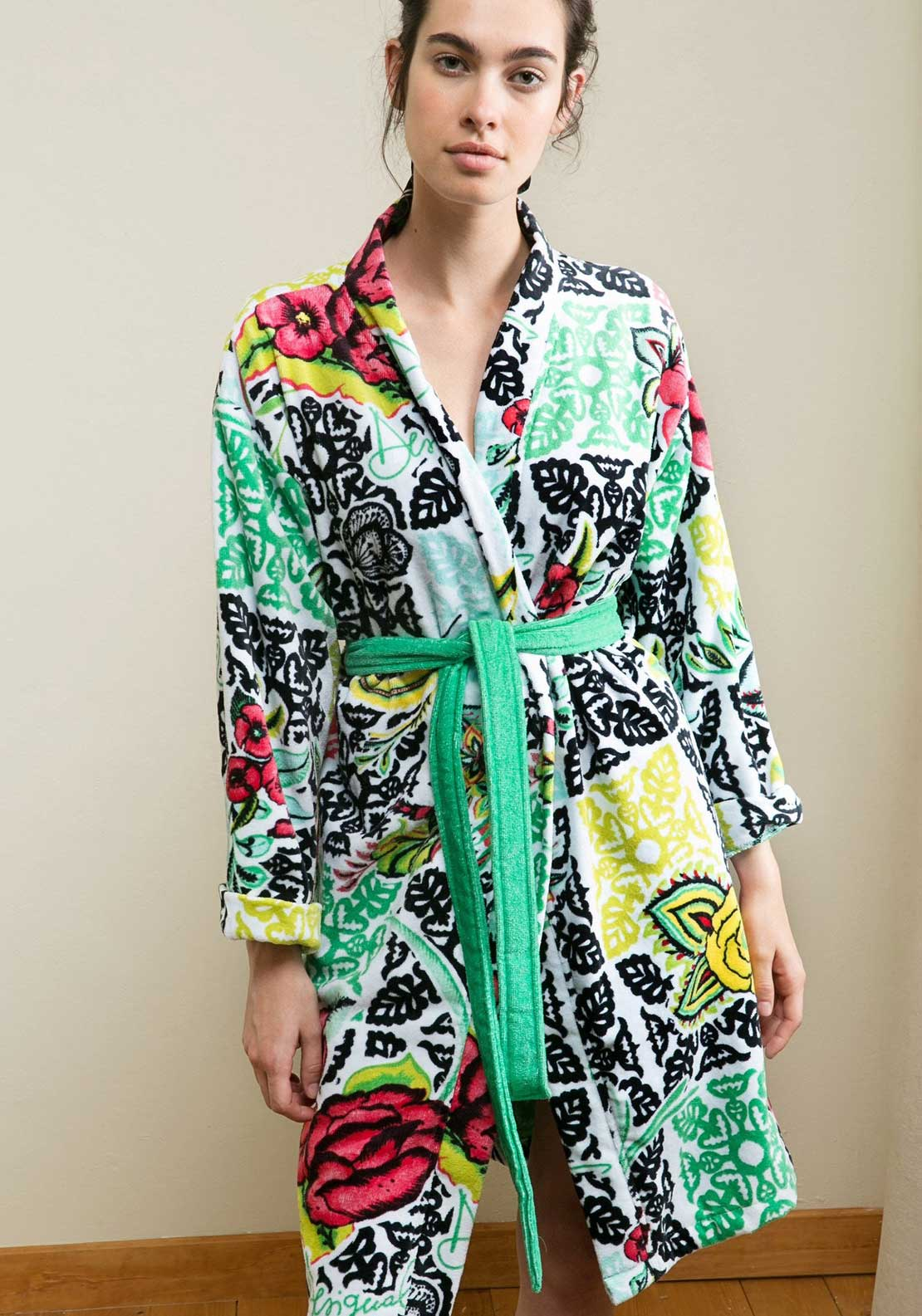 Desigual Womens Floral Print Dressing Gown, Multi-Coloured