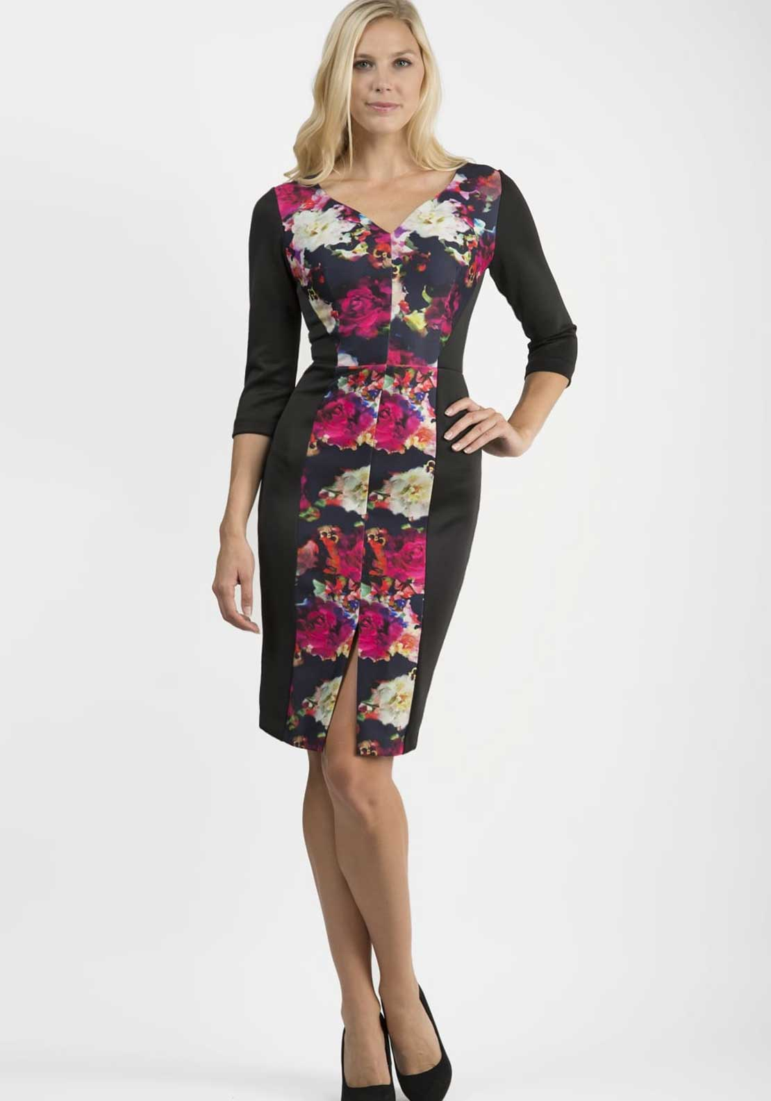 Diva Ricoh Floral Print Bodycon Dress, Black Multi