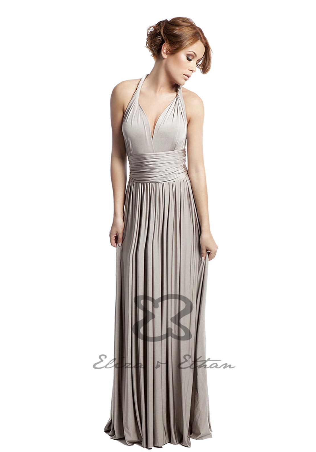 Eliza & Ethan Multi Wrap Long Occasion Dress, Champagne