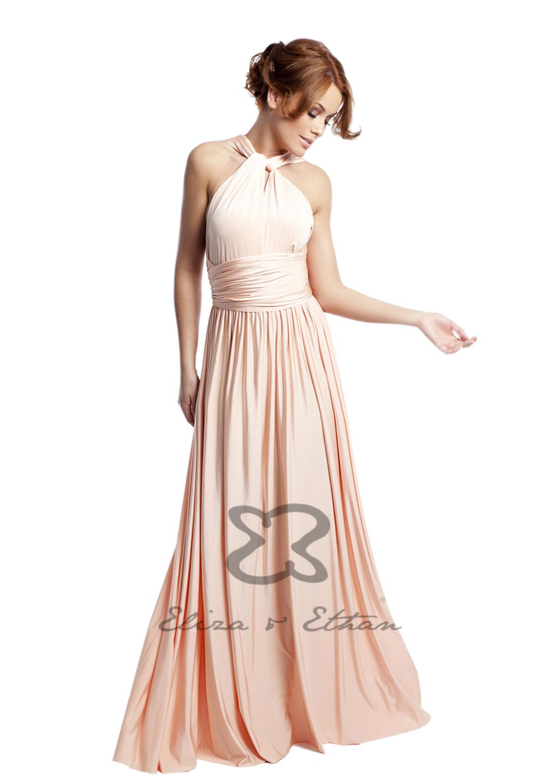 Eliza & Ethan Multi Wrap Long Occasion Dress, Dusty Peach