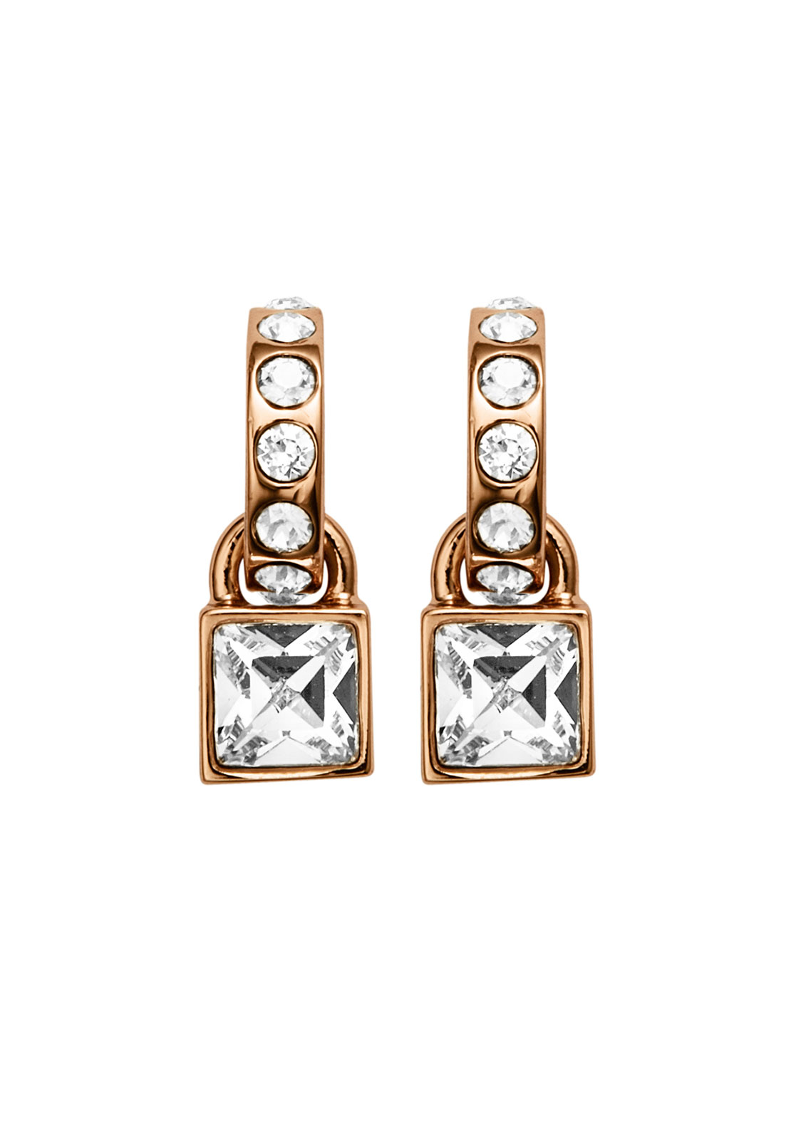 Dyrberg Kern Dariena Crystal Hoop Earrings, Rose Gold