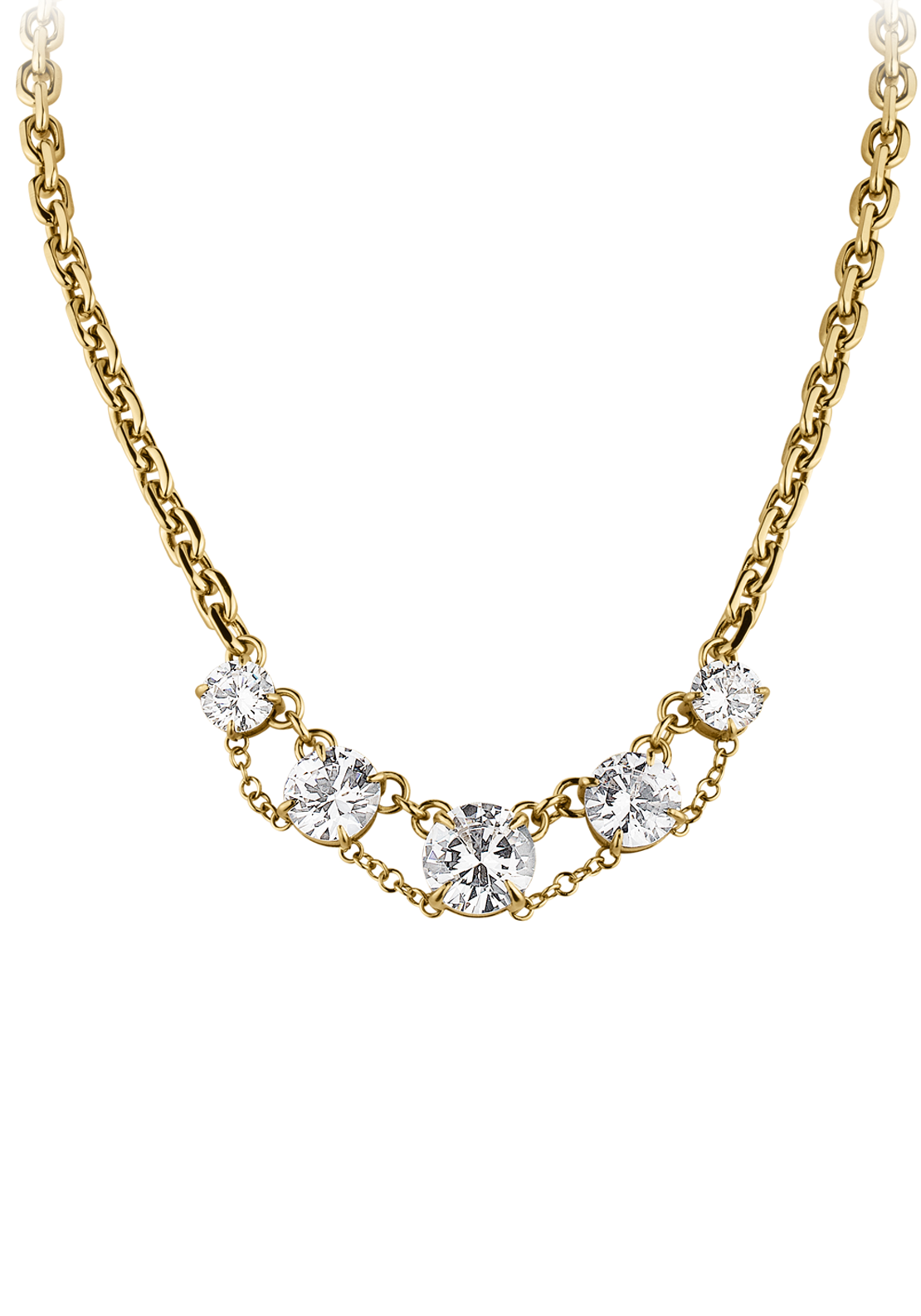 Dyrberg Kern Devonalia Necklace with Cubic Zirconia Stones, Gold