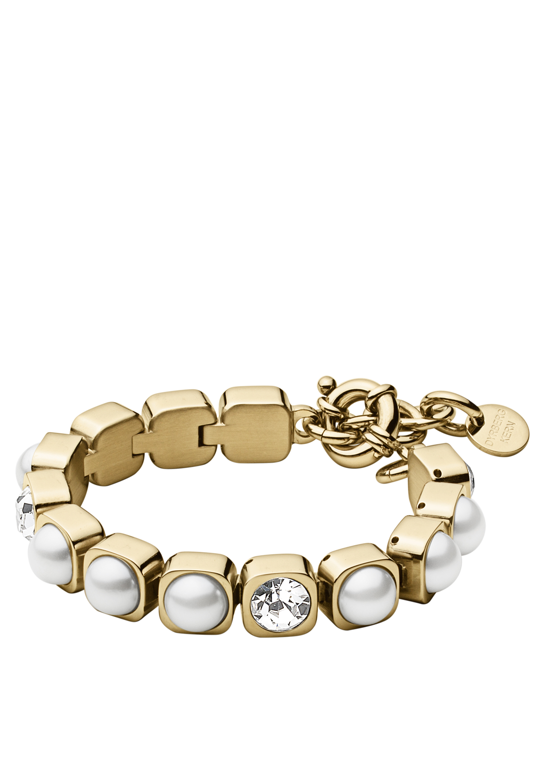 Dyrberg Kern Coco White Faux Pearl Bracelet with Swarovski Elements, Gold
