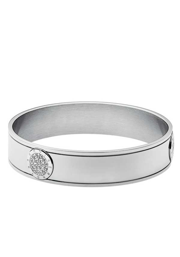 Dyrberg Kern Stainless Steel Mouille Bangle with Crystals, Silver