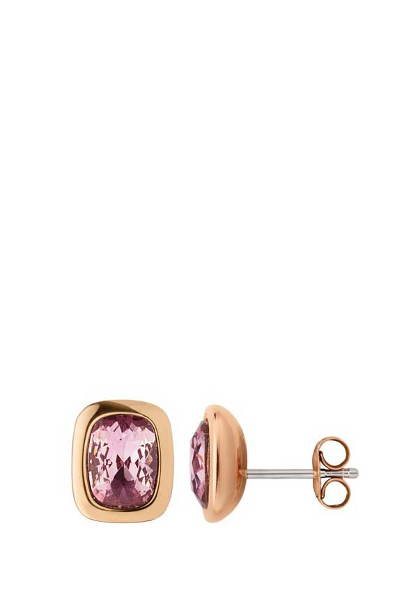 Dyrberg Kern Womens Tron Crystal Stud Earrings, Rose Gold