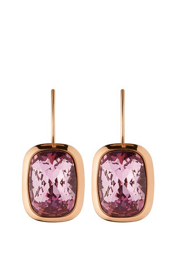 Dyrberg Kern Womens Rina Crystal Drop Earrings, Rose Gold