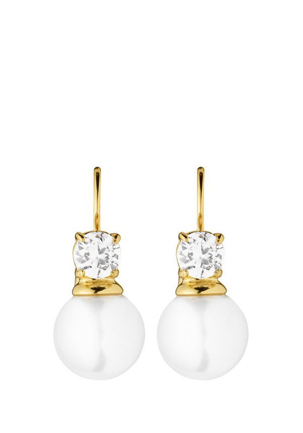 Dyrberg Kern Earrings, Lyna earrings with white pearl, Gold