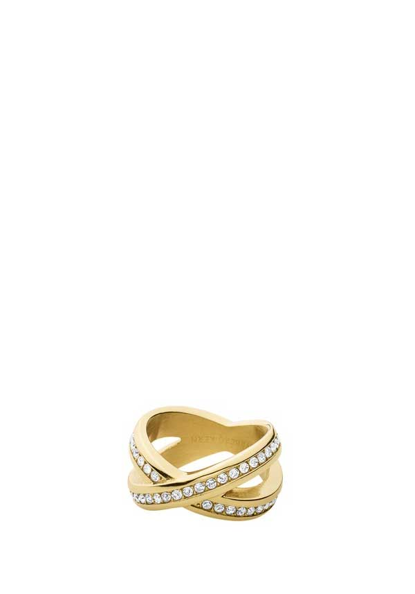 Dyrberg Kern Womens Nagyz Crystal Set Ring, Gold