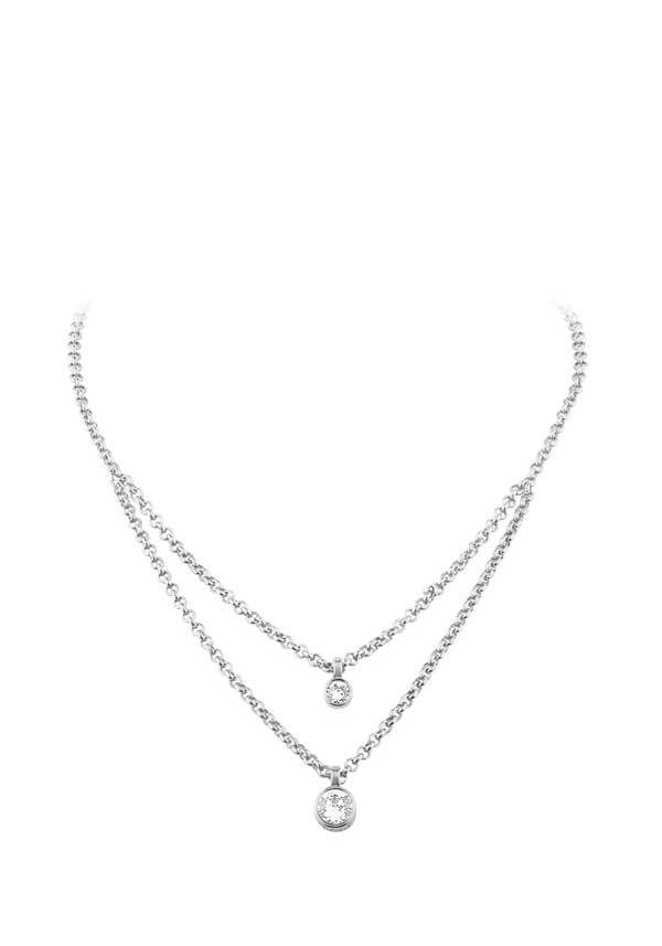 Dyrberg Kern Womens Fulli Crystal Set Necklace, Silver