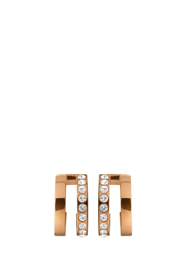 Dyrberg Kern Earrings, Logue crystal earrings, Rose Gold