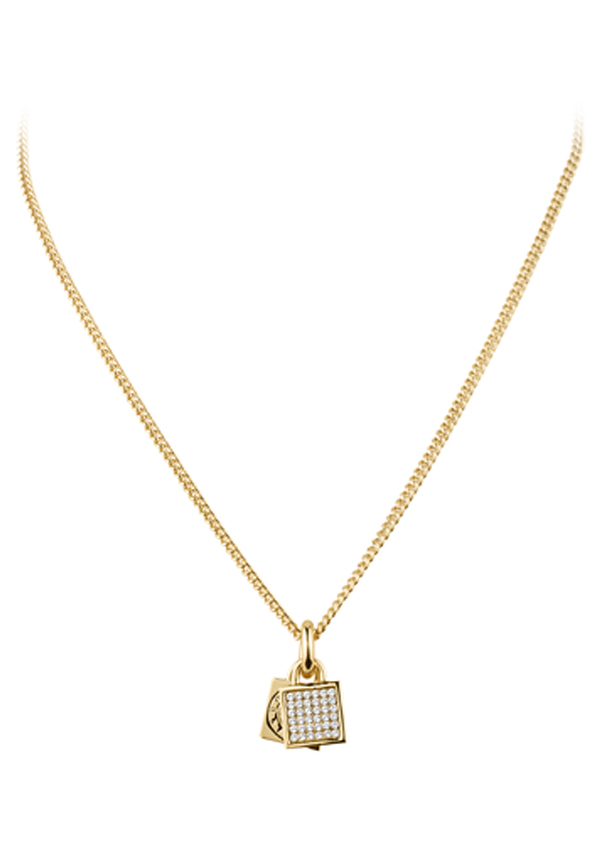 Dyrberg Kern Satile Fine Chain Necklace with padlock pendant, Gold