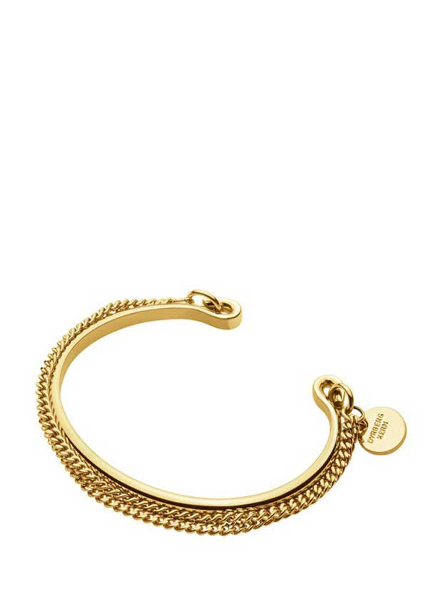 Dyrberg Kern Womens Pano Double Chain Bangle, Gold