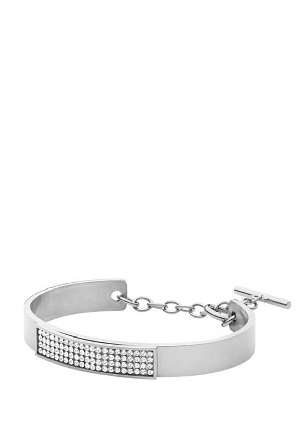 Dyrberg Kern Womens Ventia Crystal Bangle, Silver