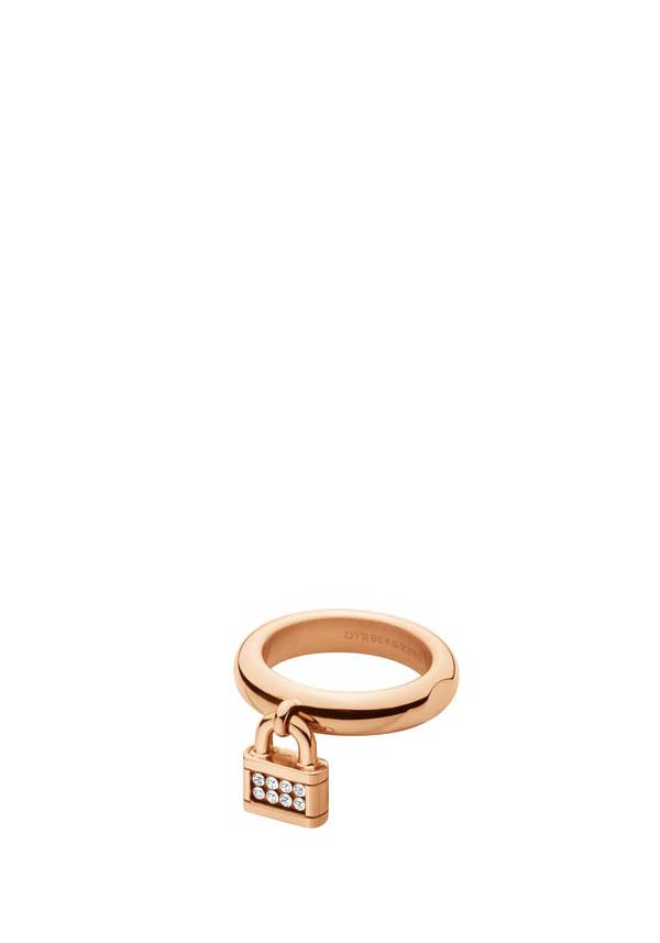 Dyrberg Kern Womens Varda Crystal Set Padlock Ring, Rose Gold