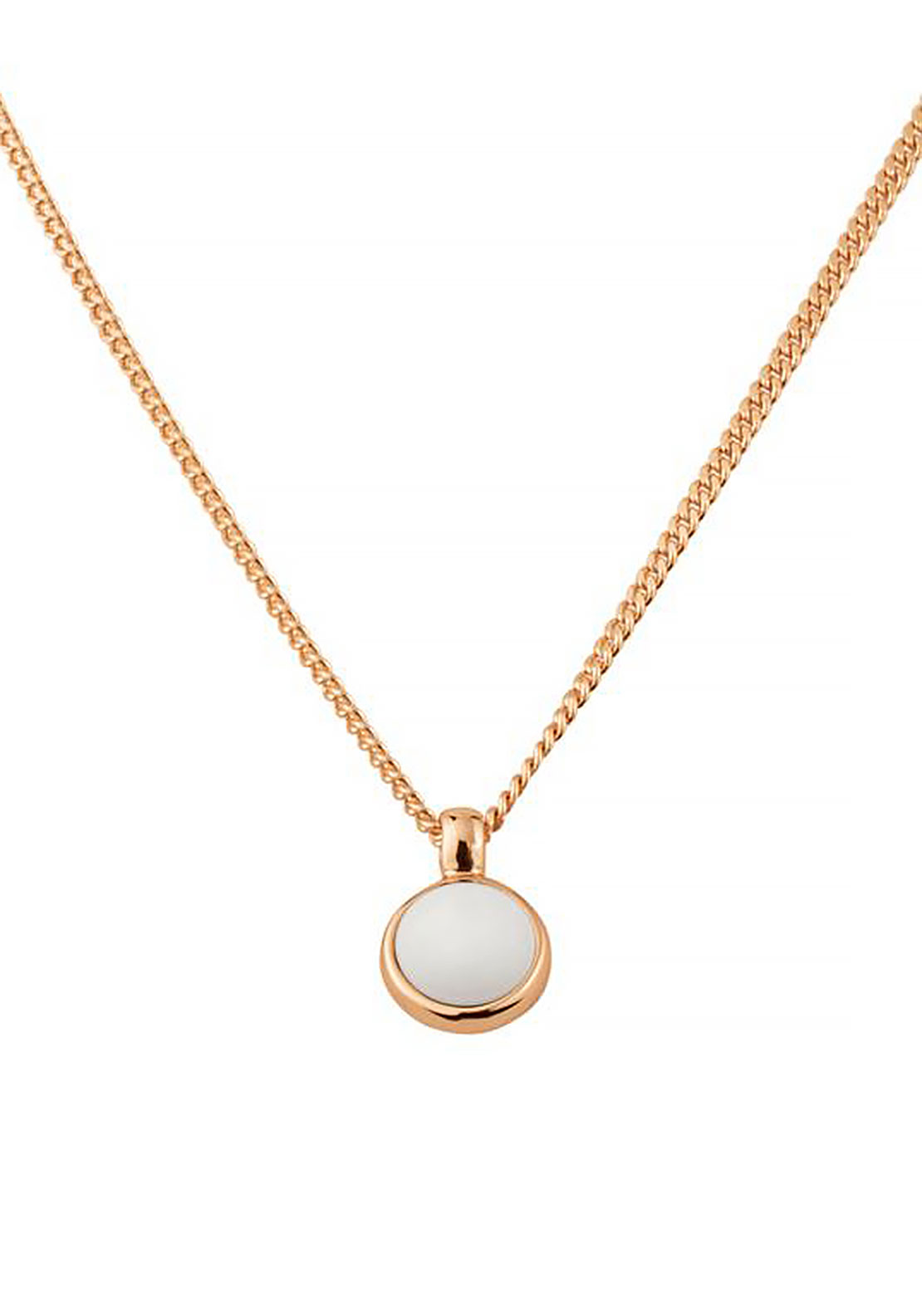 Dyrberg Kern Lone Necklace, White & Rose Gold
