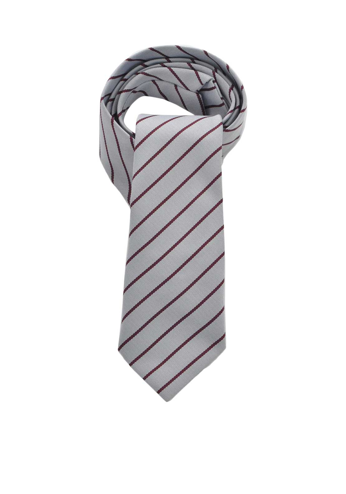 Hunter St. Columbas Striped School Tie, Grey and Wine