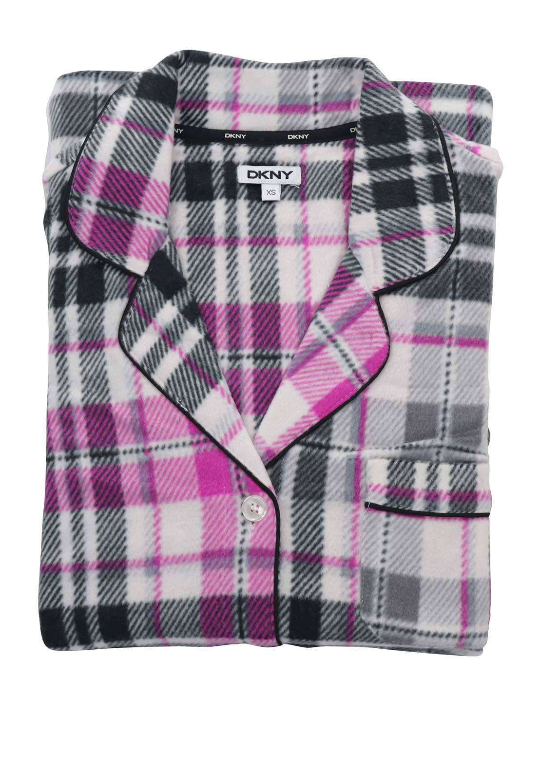 DKNY Womens Checked Fleece Pyjama Set, Multi-Coloured