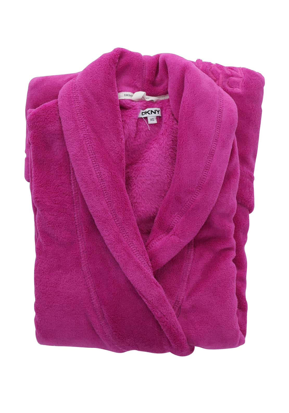 DKNY Womens Fleece Dressing Gown, Fuschia Pink