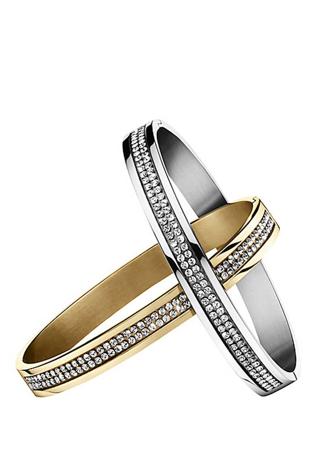 Dyrberg Kern Lorbel Swarovski Crystal Bangle Set, Gold and Silver