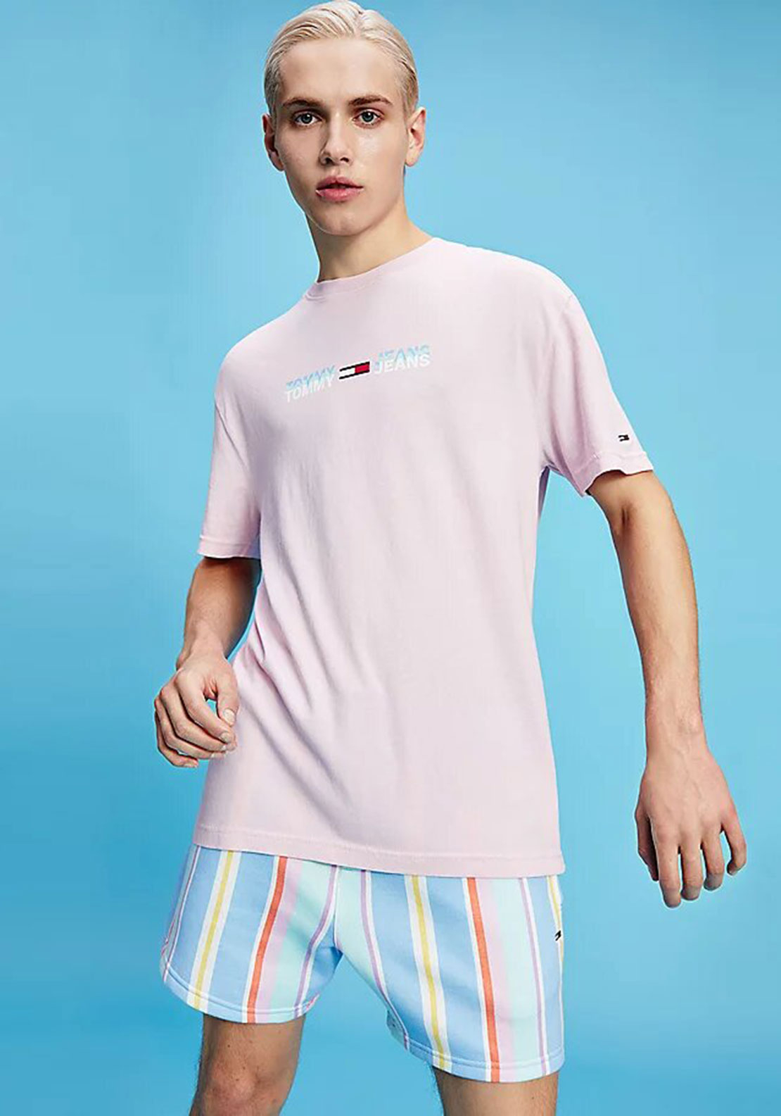 Tommy Jeans Linear Logo T-Shirt, Romantic Pink