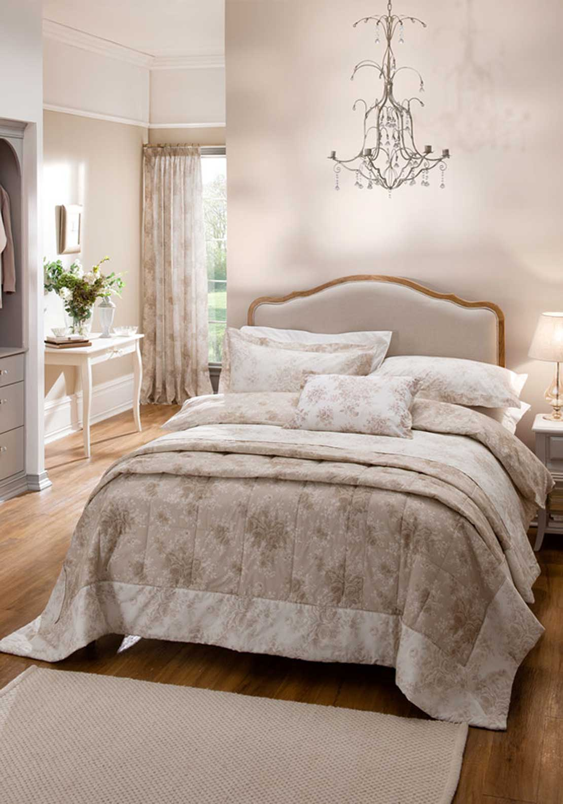 Dorma Rose Toile Quilted Bedspread 245 x 265cm, Natural