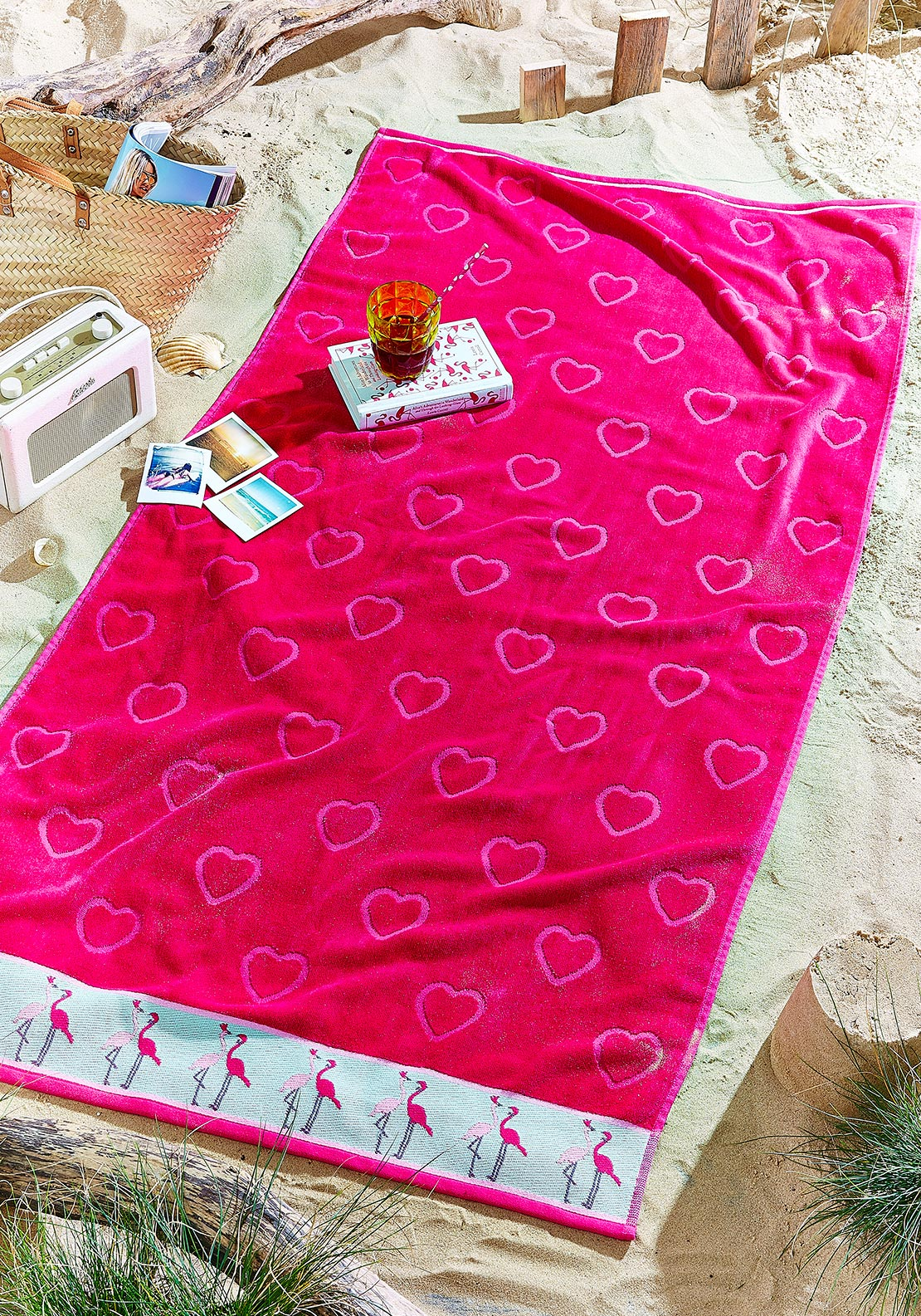 Catherine Lansfield Flamingo Beach Towel, Pink