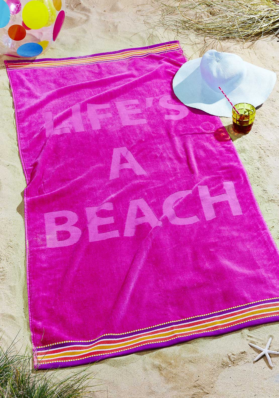 Catherine Lansfield Life's A Beach Beach Towel, Pink