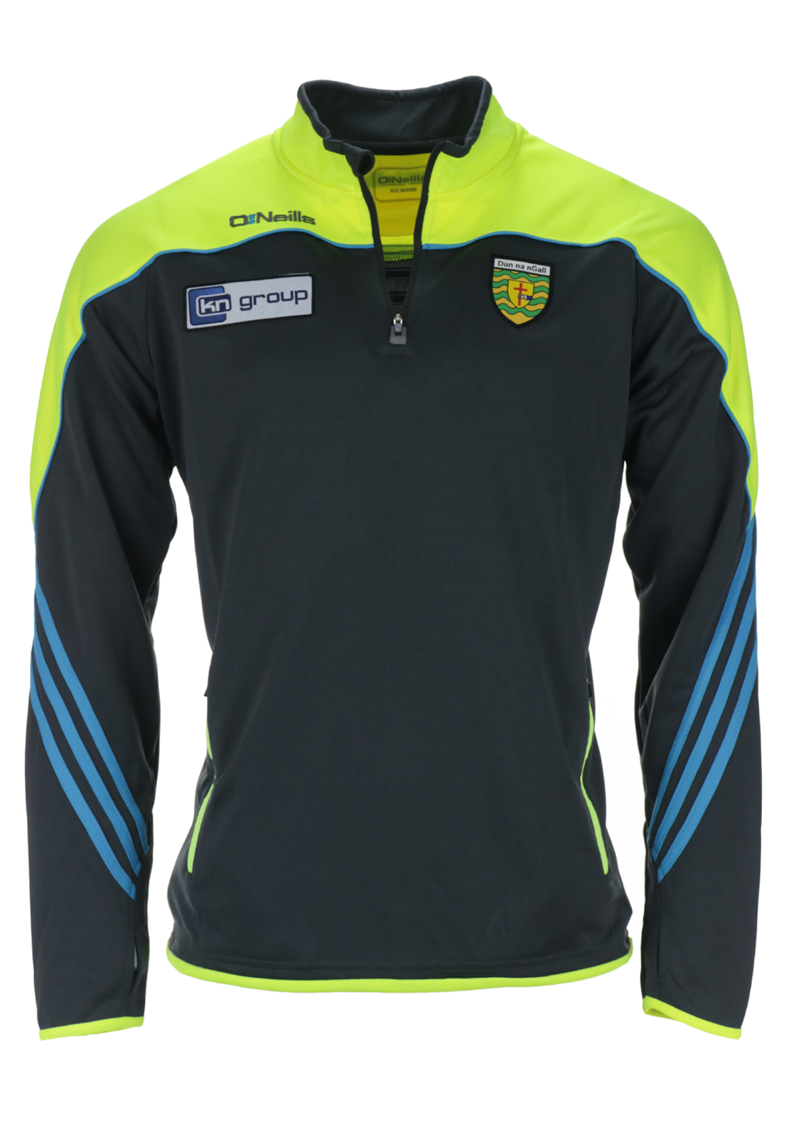 O'Neills Donegal GAA Parnell Half Zip Squad Top, Grey and Yellow