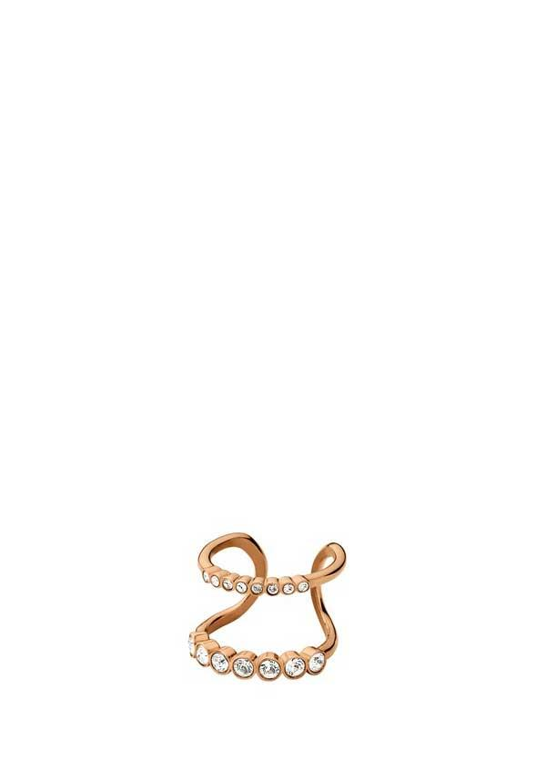 Dyrberg Kern Emelia Rose Gold Plated Crystal Ring, Rose Gold