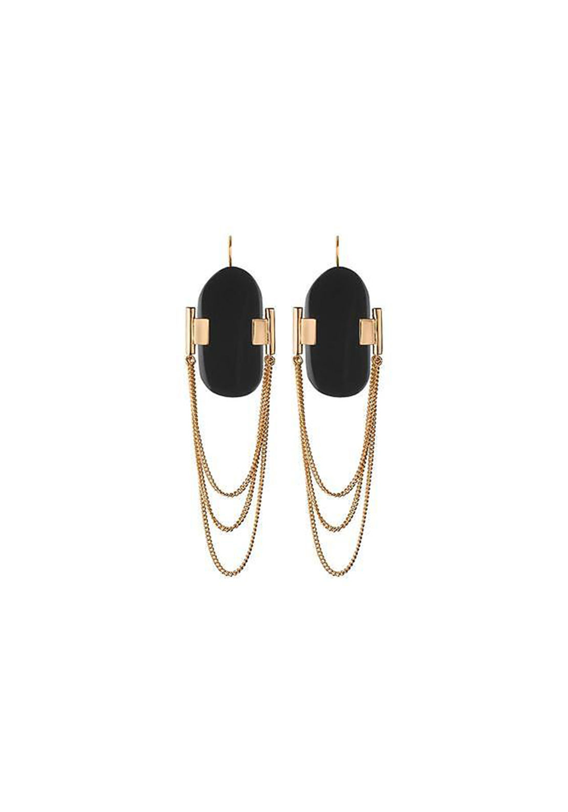 Dyrberg Kern Genaro Earrings, Black & Gold