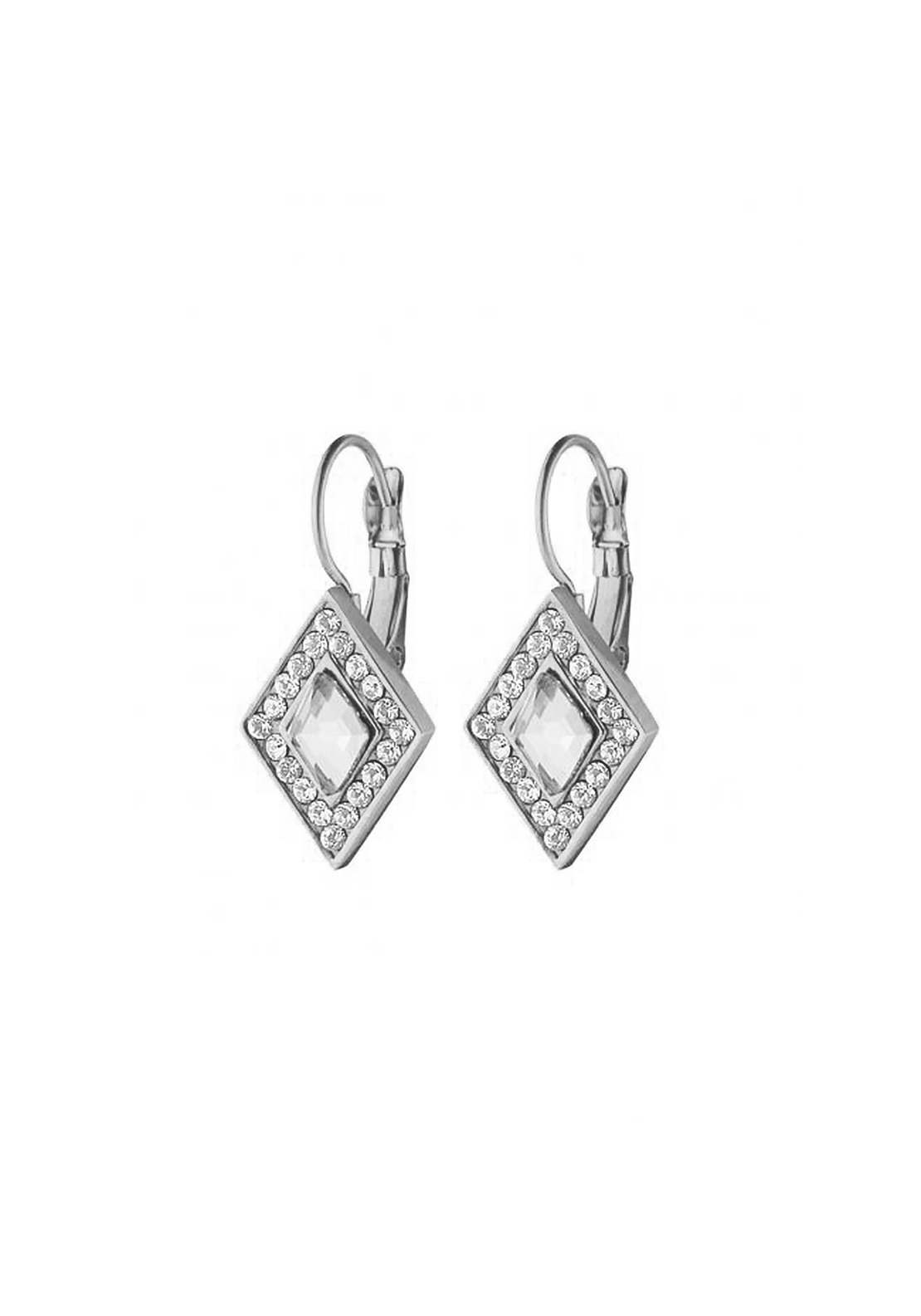 Dyrberg Kern Doha Crystal French Hook Earrings, Silver