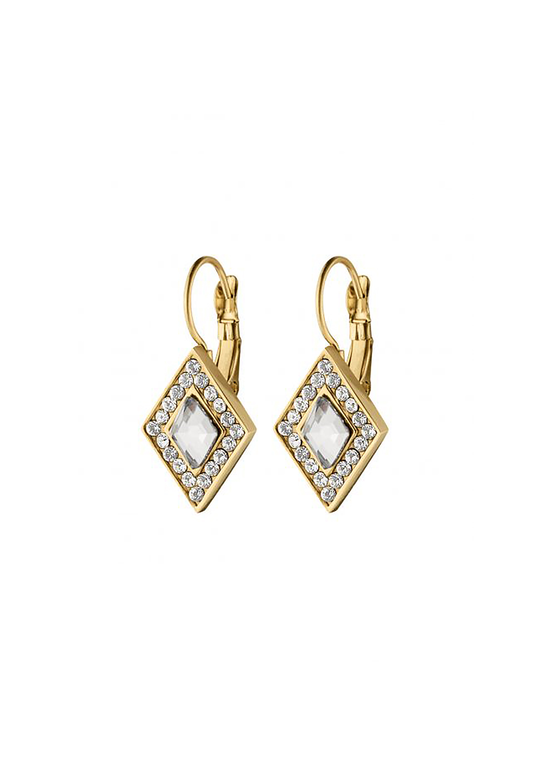 Dyrberg Kern Doha Crystal French Hook Earrings, Gold