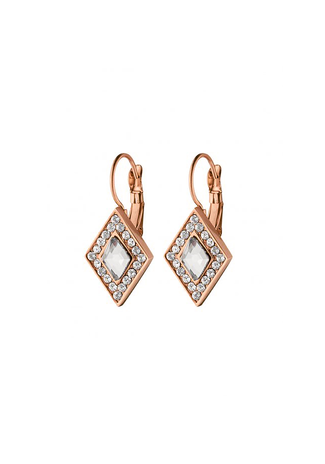 Dyrberg Kern Doha Cystal French Hook Earrings, Rose Gold