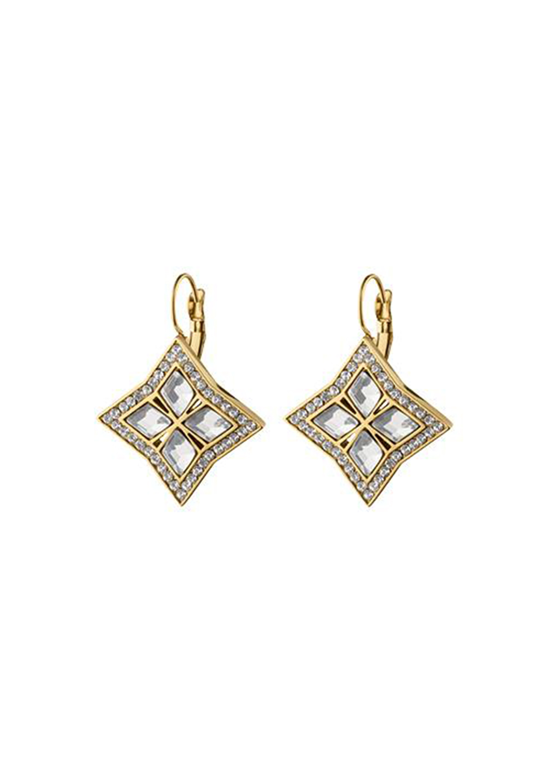 Dyrberg Kern Nina Crystal French Hook Earrings, Gold