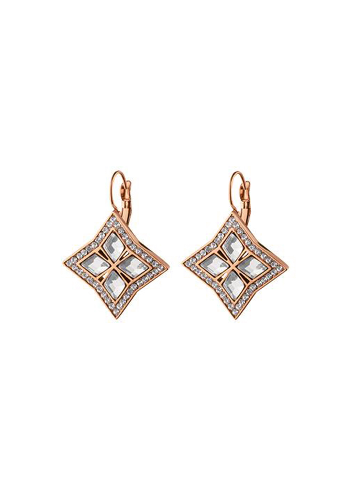 Dyrberg Kern Nina Crystal French Hook Earrings, Rose Gold