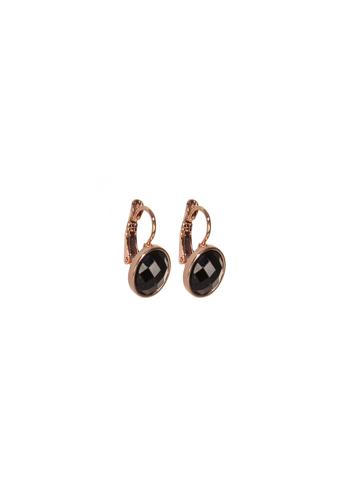 Absolute Jewellery Black Stone Drop Earrings