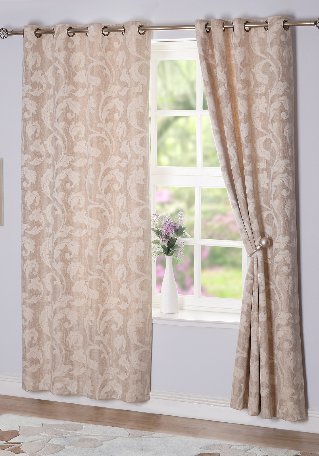 E.A. Delaney Rochelle Eyelet Curtains, Sand