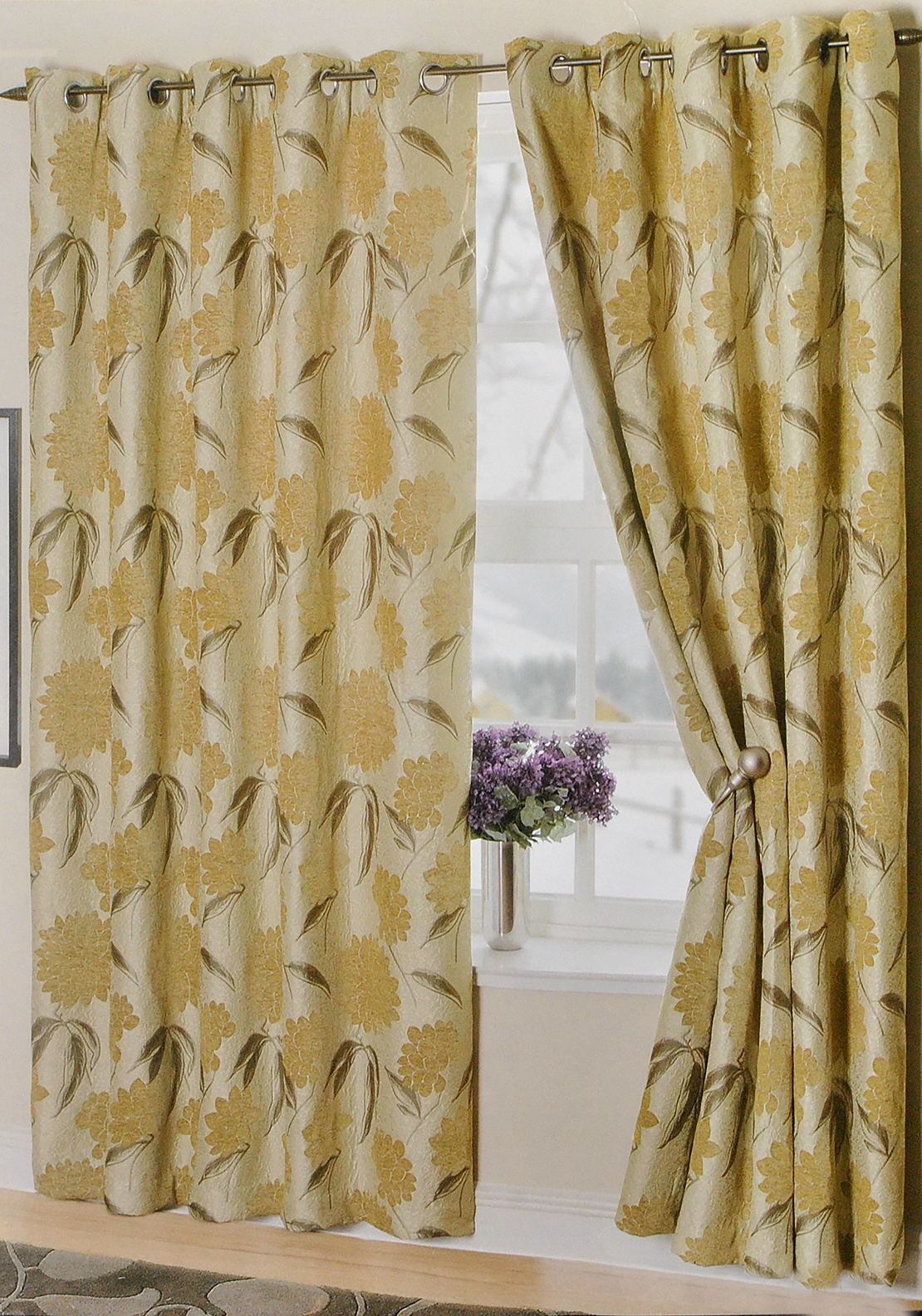 "Ea Design Napoli Floral Print Fully Lined Eyelet Curtains 90 x 90"", Gold"