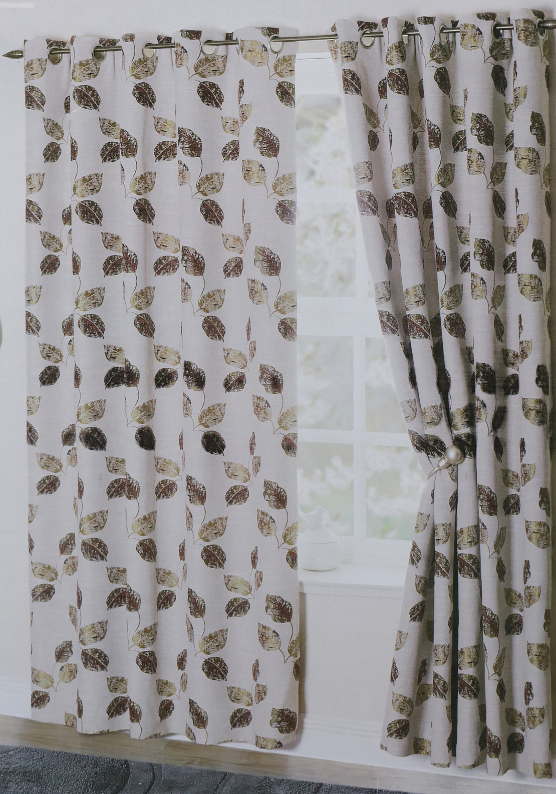 "Ea Design Levante Leaf Print Fully Lined Eyelet Curtains 90 x 90"", Beige and Bordeaux"