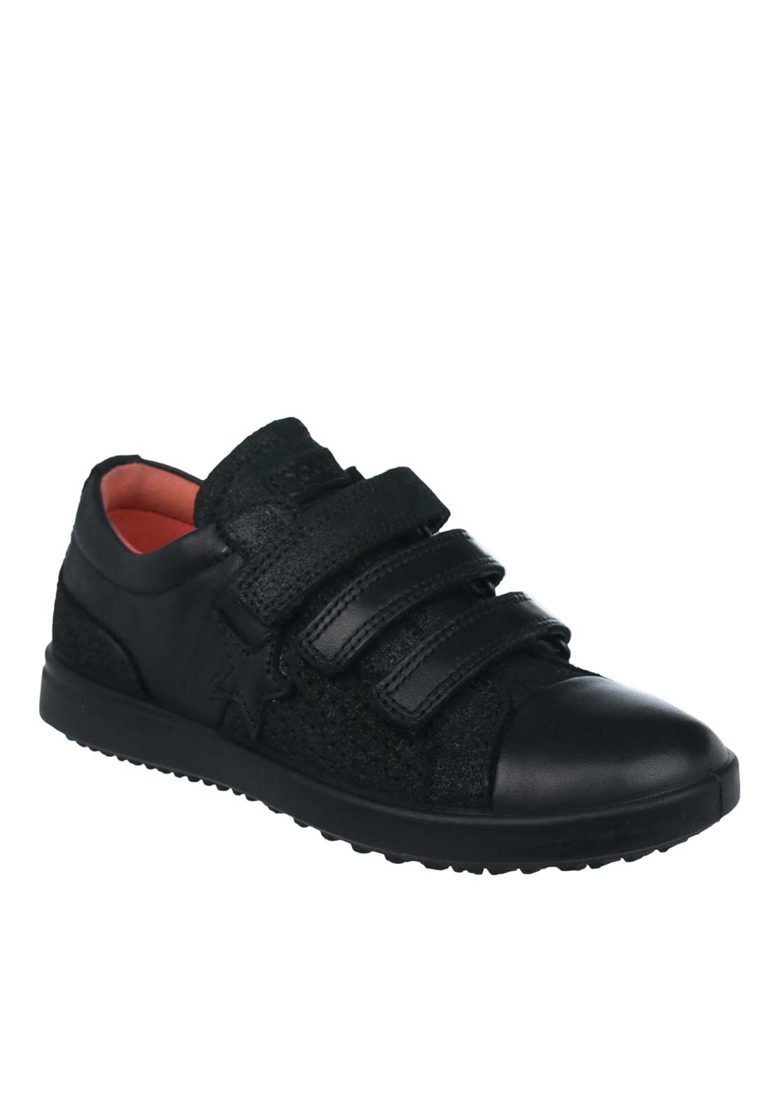 Ecco Girls Leather Mix Velcro Strap School Shoes, Black