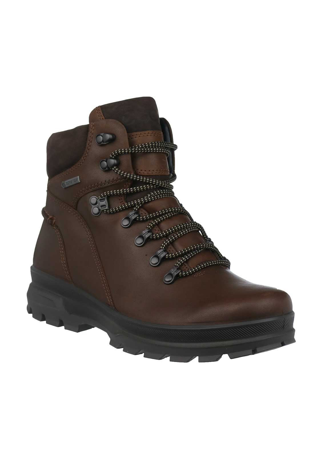 Ecco Mens Leather Rugged Track Boots, Brown