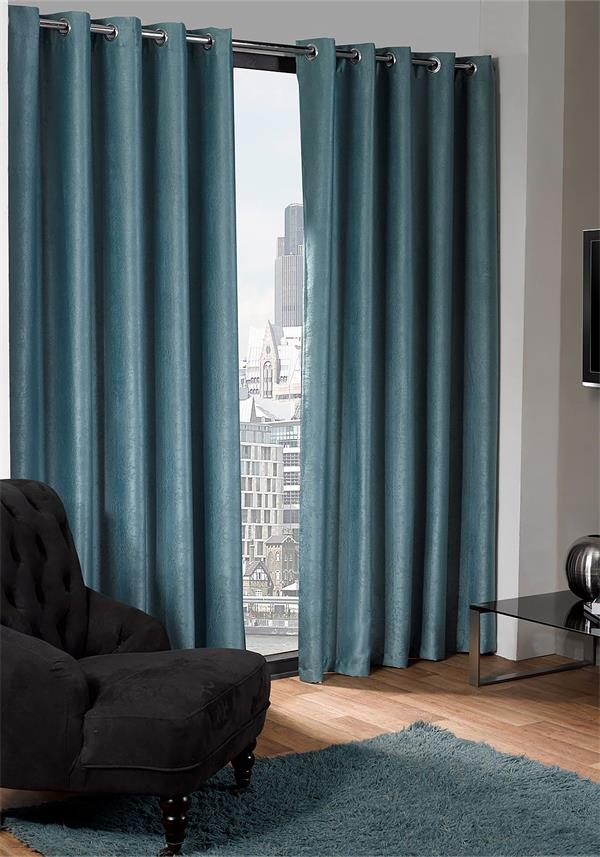 Eco Logan Black Out Thermal Lined Eyelet Curtains, Duck Egg Blue