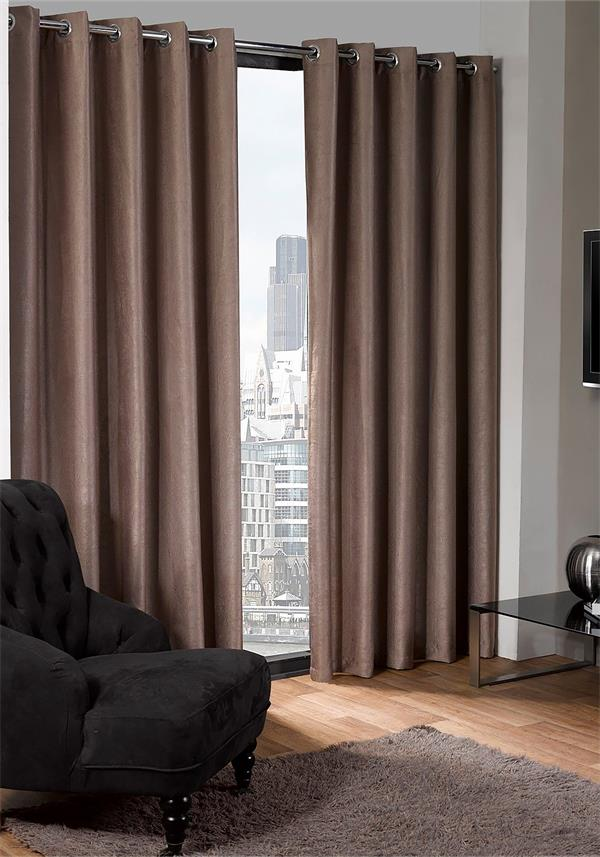 Eco Logan Black Out Thermal Lined Eyelet Curtains, Taupe
