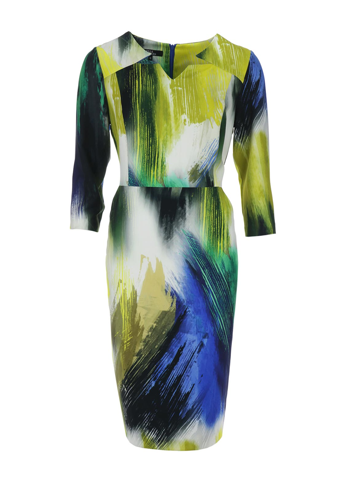 Ella Boo Brushstroke Print Pencil Dress, Blue Multi
